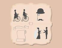 Vários convites do casamento com bicicletas Fotografia de Stock Royalty Free