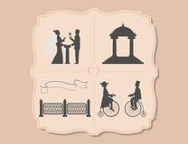 Vários convites do casamento com bicicletas, jardim, flor, fita Imagem de Stock