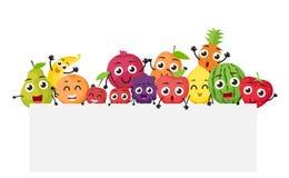 Vários desenhos animados dos frutos com sinal vazio Fotografia de Stock Royalty Free