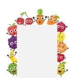 Vários desenhos animados dos frutos com sinal vazio Imagem de Stock