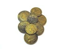 Vários francos franceses usados velhos Fotos de Stock Royalty Free