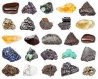 Vários minerais isolados no fundo branco imagens de stock