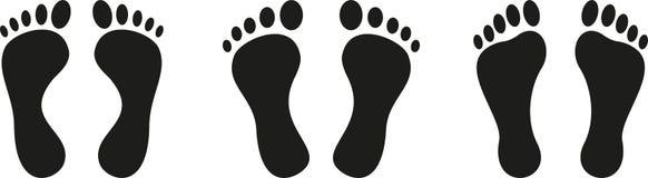 Vários pés, pés e etiqueta da etiqueta do cuidado de pé ilustração royalty free