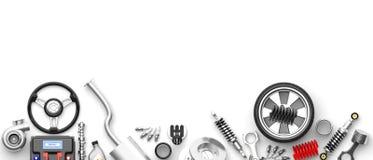 Vários peças e acessórios do carro no fundo branco ilustração 3D ilustração royalty free