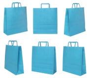 Vários sacos de compras azuis Imagens de Stock