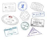 Vários selos do passaporte dos países Fotografia de Stock