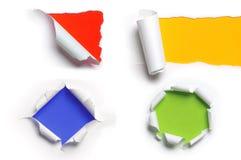 Vários testes padrões de papel rasgados Fotografia de Stock Royalty Free