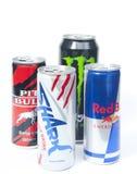 Vários tipos da bebida da energia Fotografia de Stock