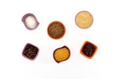 Vários tipos das especiarias em uns copos minúsculos Imagens de Stock