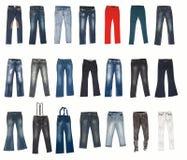 Vários tipos de calças das calças de brim Imagens de Stock