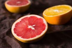 Vários tipos de citrinos em um fundo escuro Imagens de Stock Royalty Free