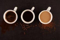 Vários tipos de coffe Fotos de Stock