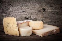 Vários tipos de queijo em um fundo de madeira matizado Imagem de Stock