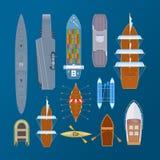 Vários tipos de transporte da água do mar, forças armadas, navios de carga, balsas ilustração royalty free