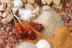Vários tipos do açúcar foto de stock