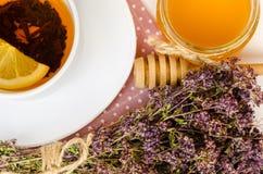 Vários tipos do chá na tabela de madeira Imagem de Stock