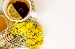 Vários tipos do chá na tabela de madeira Fotos de Stock
