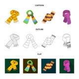 Vários tipos dos scarves, dos scarves e dos xailes Os Scarves e os xailes ajustaram ícones da coleção nos desenhos animados, esbo Fotos de Stock Royalty Free