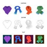 Vários tipos dos scarves, dos scarves e dos xailes Os Scarves e os xailes ajustaram ícones da coleção nos desenhos animados, esbo Imagem de Stock