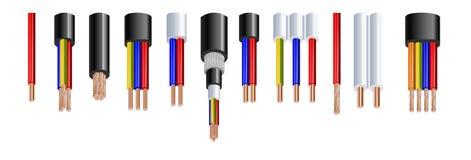 Vários tipos poder, cabos acústicos com os condutores do fio elétrico mantidos unidos com grupo realístico da bainha total ilustração do vetor