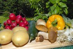Vários vegetais em uma placa de madeira Foto de Stock Royalty Free