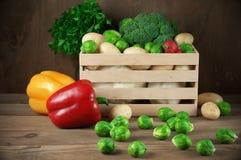 Vários vegetais na caixa Fotos de Stock Royalty Free