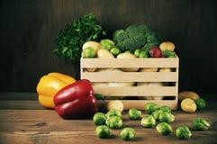 Vários vegetais na caixa Foto de Stock