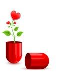 Vástago verde que crece del pedazo de la píldora roja Foto de archivo