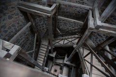 vão das escadas velho Hessen Alemanha da torre do muenzenberg do castelo Imagens de Stock Royalty Free