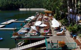 Văliug-Trei Ape III. Văliug lake and pontoon from resort with same name,Caras-Severin county,Romania Stock Images
