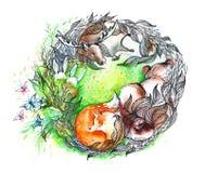 väcka natur stock illustrationer