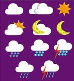 väder för 2 symboler Arkivbilder