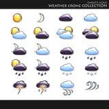 väder för samlingssymbolsstil Arkivbilder