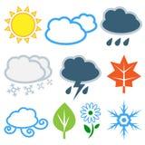 Väder och säsonger. Vektoruppsättning Arkivfoto