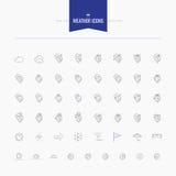 Väder- och temperatursymbolsuppsättning Gör och fodra symbolsuppsättningen, lägenhet tunnare Arkivfoto