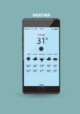 Väderapplikation på den smarta telefonen Arkivbild