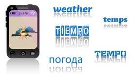 Väderapplikation på smartphonen Royaltyfria Bilder