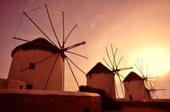 Väderkvarn av Mykonos Royaltyfria Bilder