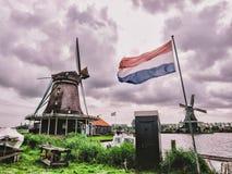 Väderkvarn med Nederländernaflaggan Arkivfoton