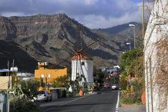 Väderkvarn på ön av Las Palmas, Spanien Fotografering för Bildbyråer