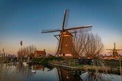 Väderkvarn på floden Rotte, Nederländerna arkivbild