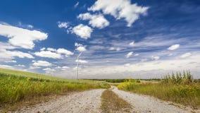 Väderkvarn på grönt fält på en solig dag i sommar lager videofilmer