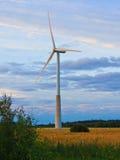 Väderkvarn på lantligt fält i solnedgången för lantgårdkälla för alternativ energi wind för turbiner Royaltyfri Foto