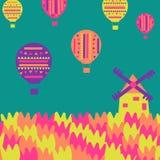 Väderkvarn tulpan, ballonger på en enkel bakgrund Arkivfoto