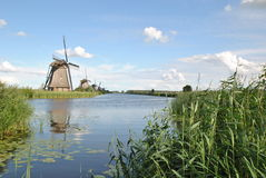 Väderkvarnar av Kinderdijk Royaltyfri Fotografi