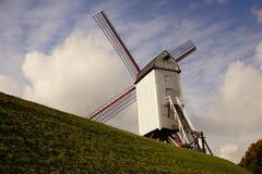 Väderkvarnar i Bruges Arkivbild