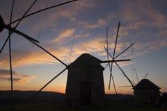 Väderkvarnar i Portugal Royaltyfri Bild