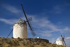 Väderkvarnar i Spanien, La Mancha, berömda Don Quijote Fotografering för Bildbyråer