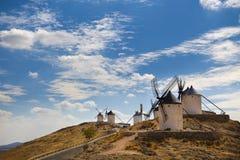 Väderkvarnar i Spanien, La Mancha, berömda Don Quijote Arkivfoton