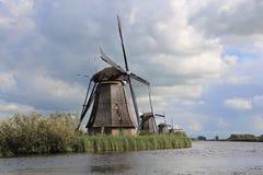 Väderkvarnar på Kinderdijk, Holland Arkivfoton